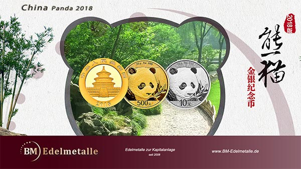 China Panda 2018 Silber + Gold